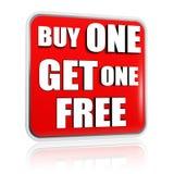 Koop één krijgen één vrije rode banner Stock Fotografie