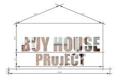 Koop de slogan van het huisproject in blauwdruk Stock Afbeeldingen