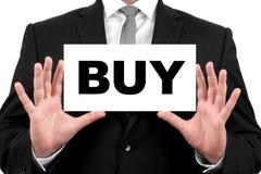 Koop. De zakenman toont adreskaartje Royalty-vrije Stock Afbeelding