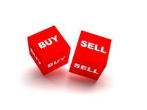 Koop en verkoop blokken die op witte achtergrond worden geïsoleerdn Stock Foto