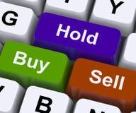 Koop Greep en verkoop Sleutels vertegenwoordigen Marktstrategie stock foto