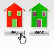 Koop of huur: Ik verkies te kopen! Stock Foto