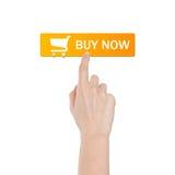 Koop knoop met echte die hand op witte achtergrond wordt geïsoleerd stock foto's