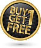 Koop 1 krijgen 1 vrij gouden etiket, vector Stock Foto's