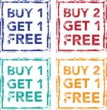 Koop 1 krijgen 1 Vrije Zegel kopen 2 krijgen 1 Vrije Vector Royalty-vrije Stock Afbeeldingen