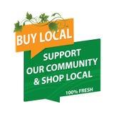 Koop lokale producten - groen en oranje etiket voor druk royalty-vrije illustratie