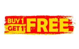 Koop één krijgen één vrij, geel en rood getrokken etiket Stock Fotografie