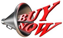 Koop nu rood woord in megafoon Stock Fotografie