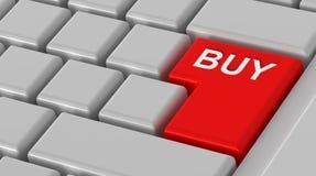 Koop nu - rood zeer belangrijk computertoetsenbord. Royalty-vrije Stock Foto
