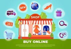 Koop Online Affiche stock illustratie