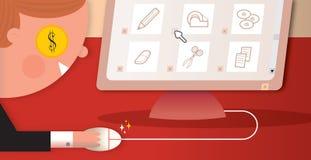 Koop online en spaar stock illustratie
