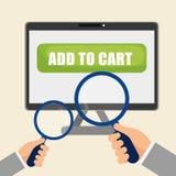 Koop online over witte achtergrond, computerontwerp Stock Foto