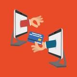 Koop online over witte achtergrond, hand op het schermcomputer Stock Afbeelding