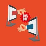 Koop online over witte achtergrond, hand op het schermcomputer Royalty-vrije Stock Afbeelding