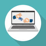 Koop online over witte achtergrond, laptop ontwerp Stock Afbeelding