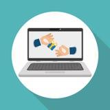 Koop online over witte achtergrond, laptop ontwerp Royalty-vrije Stock Afbeelding