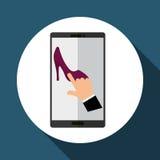 Koop online over witte achtergrond, mobiele vector Stock Foto