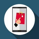 Koop online over witte achtergrond, mobiele vector Stock Fotografie