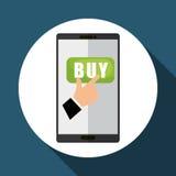 Koop online over witte achtergrond, mobiele vector Royalty-vrije Stock Foto
