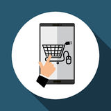 Koop online over witte achtergrond, mobiele vector Stock Afbeeldingen