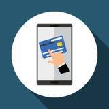 Koop online over witte achtergrond, mobiele vector en creditcard Stock Afbeelding