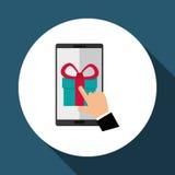 Koop online over witte achtergrond, mobiele vector en gift Stock Afbeelding