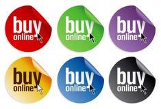 Koop online stickers Royalty-vrije Stock Afbeeldingen