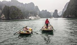 Koopvaardijboot bij Halong-baai royalty-vrije stock fotografie