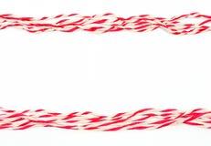 Koord rood en wit als kader Royalty-vrije Stock Foto's