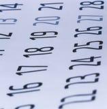 Koord van kalenderaantallen, Close-up van kalenderaantallen stock afbeelding