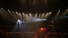 Koorddansers bij het circus stock footage
