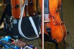 Koordinstrument met elektronische muzikale stukken die klaar voor overleg worden Royalty-vrije Stock Afbeeldingen