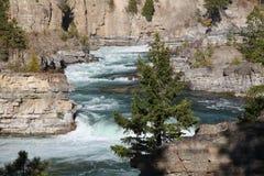 Kootenai Falls on the Kootenai River in Northwestern Montana. The Kootenai Falls in Northwestern Montana. the River of the Kootenai flows through rugged rocks stock photo