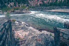 Kootenai river water falls in montana mountains. Kootenai river water falls in montana  mountains Royalty Free Stock Photos