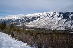 Kootenay Crossing scenic viewpoint roadside pullout in winter provides beautiful views of the Canadian Rockies.  royalty free stock photography