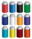 Koozies. Illustration of blank koozie with aluminum can in twelve different colors. Great for mock ups royalty free illustration