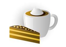 Kop cappuccino's met cakes Royalty-vrije Stock Afbeeldingen