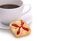 Kop coffe en koekjes stock fotografie