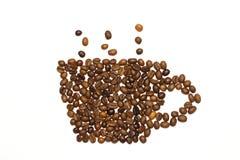 Kop die van koffiebonen wordt gemaakt Stock Foto