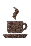 Kop die van koffiebonen wordt gemaakt Stock Fotografie
