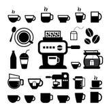 Kop en koffiepictogramreeks royalty-vrije stock afbeeldingen