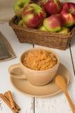 Kop geraspte appelen met kaneel Stock Afbeelding