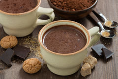 Kop hete chocolade en horizontale suikerkubussen, Stock Afbeelding