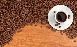 Kop koffie en bonen royalty-vrije stock foto's