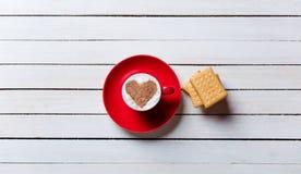 Kop koffie en koekjes Stock Fotografie