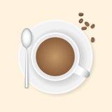 Kop koffie en koffiebonen Royalty-vrije Stock Foto's