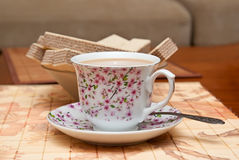Kop koffie en wafels Stock Foto