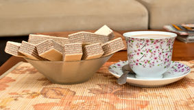 Kop koffie en wafels Stock Fotografie