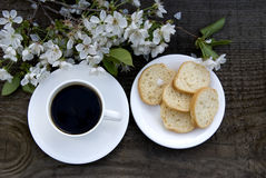 Kop koffie en witte bloemen Stock Afbeelding