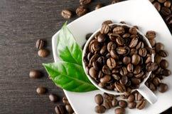 Kop koffiebonen Stock Afbeelding